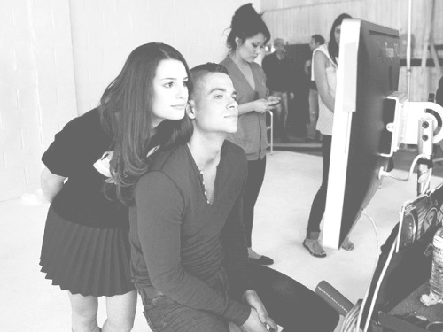Lea Michele and Mark Salling. Behind the scenes