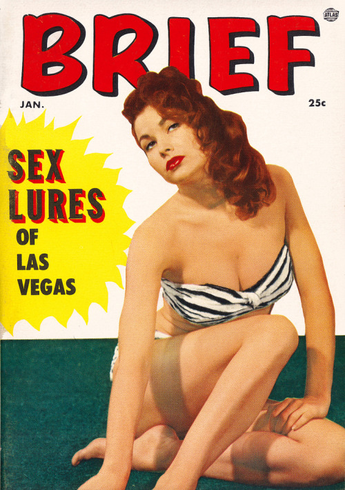 Las Vegas lures (by PopKulture)  Brief - January 1955 issue.  Cover model Mara Corday