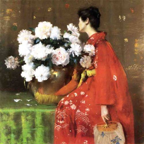 cavetocanvas:  William Merritt Chase, Peonies, c. 1897