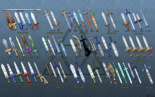 philyc3rd:  All useable Swords from Zelda  SOMEONE PLEASE TELL ME WHAT THAT LAST SWORD IS IN TWILIGHT PRINCESS. Edit: Okay, figured it out. It's the Shade's sword (which is NOT usable, liar).