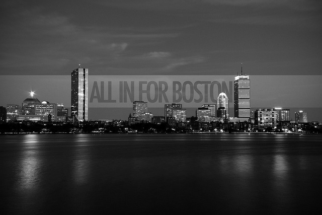 All in for Boston. on Flickr. A day of celebration abruptly turned into tragedy. My heart goes out to all affected from the bombings during the 2013 Boston Marathon. I modified a skyline photo I've taken a few years back with the slogan marketed from this year's marathon, 'All in for Boston'. I felt this was well fitting from the unfortunate events that had occurred.