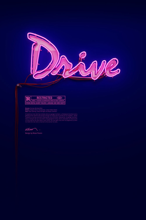 """Drive"" always reminds me of a tendency I've also observed In Berlin art scene: the idea of anti-design. Using the early 90s Wimdows 3.11 Brushscript typeface for the movie title stands for that as art catalogs designed with Arial. But it's in a different way, still, as counterparts. While the pink handwriting stands out, Arial merges down, reminding us to forget about the container and pay attention to the content. Like the Guggenheim concept of museum or Steve Jobs black shirt."