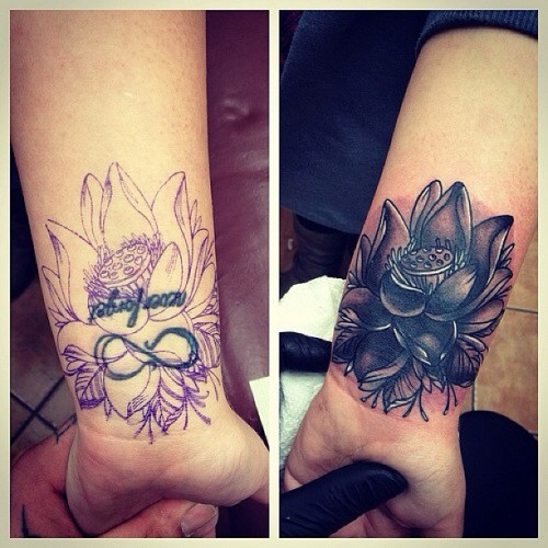 More cover ups ! #tattoos #tattoo #follow #oldschool #oldschooltattoo #tattooartist #tattooshop #ink #inked #toronto #torontotattoo #art #artist #tattooflash #photooftheday #coverup #flower #lotus