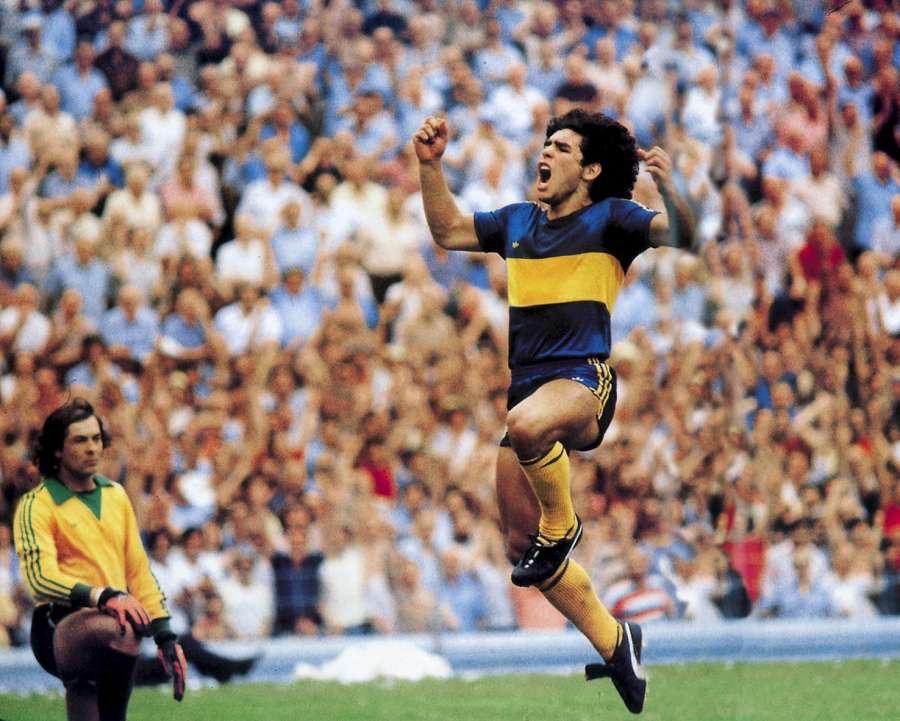 The Antique Football — Diego Maradona celebrating a goal for Boca Juniors...