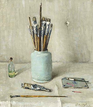 stilllifequickheart:  Lucie van Dam van Isselt Still Life with Paintbrushes 1946