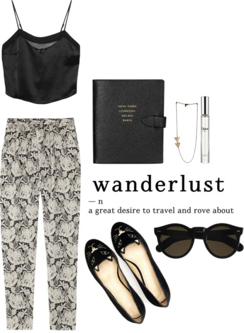 about-to-blow:   Wanderlust por pauclausen con tapered pants Kiki de Montparnasse cami tank top, $165 / Stella McCartney tapered pants / Charlotte Olympia velvet shoes / Cutler and Gross black eyewear / Chloé fragrance / Smythson Runway textured-leather notebook, $125
