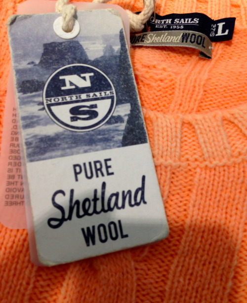 therightshield:  North Sails Jumper 100% Shetland Wool  5 gauge , cable  Fluorescent dyed   At Pitti - Florence