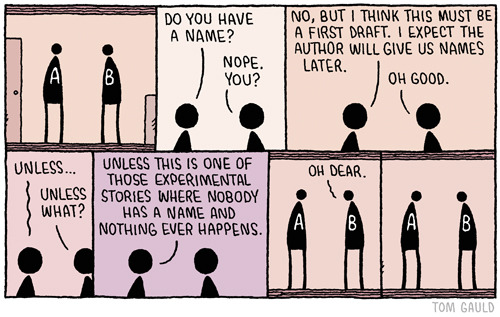 "By Tom Gauld,myjetpack:   ""My new book of cartoons ""You're All Just Jealous of My Jetpack"" is out now. Details are here."""