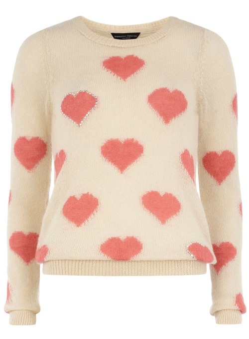 Dress like Rachel Berry: cream and pink mini hearts jumper £29.50