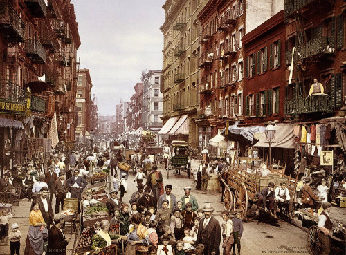 room42:  Mulberry Street in Little Italy, New York, c1900. MEDIUM: 100% cotton rag photo paper with a satin finish w/ archival pigment inks