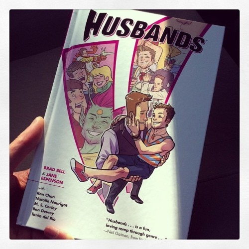 Go to the comic shop and get the @teamhusbands hardcover! Out today!