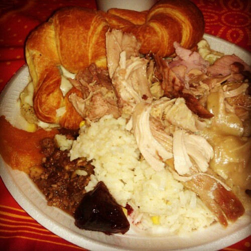 My plate  turkey,rice potato,ham, relleno ,pinaple, camote & bread