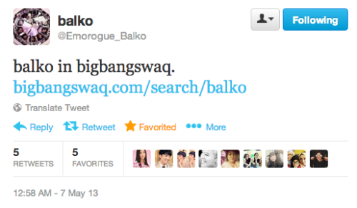 Korean Artist Balko tweeted about bigbangswaq last night. Balko is the person behind GD's G-BOSS, G-HOMIE, G-CREW drawings, GD's duck denim vest in Crayon, GD&TOP KOREA Pink & Blue Jacket, and many more. Thank you so much Balko and everyone who has supported bbswaq :) Search Balko here.