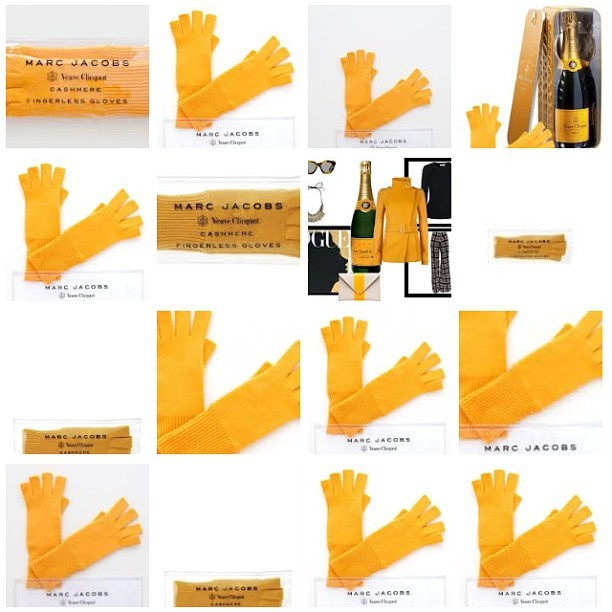 Veuve Clicquot x Marc Jacobs fingerless cashmere gloves. #accessories #brandcollaborations #marketing