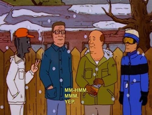 Such appropriate outfits. King of the Hill - Snow Job (s02e13)