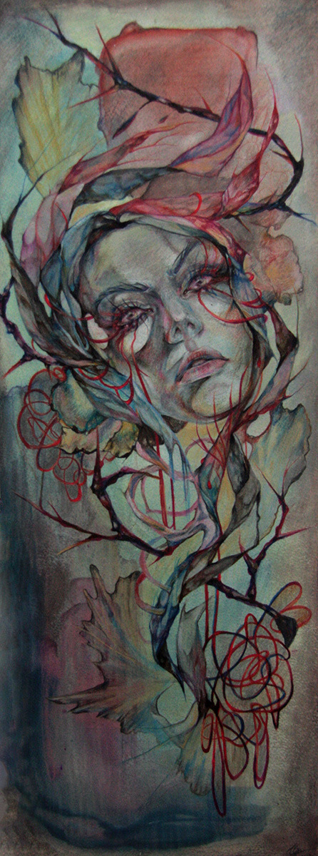 Asleep color pencil, acrylic, ink on paper Approx. 22 x 59cm  2012www.shannlarsson.com