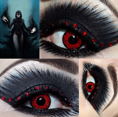 sugarpillcosmetics:  Amazing Luciferismydad used Sugarpill Bulletproof eyeshadow to create her wicked Raven, Daughter of Darkness inspired look. Looove that she has perfectly coordinated contacts to go with all her incredible looks! http://instagram.com/p/XJ6H5XRRHR/