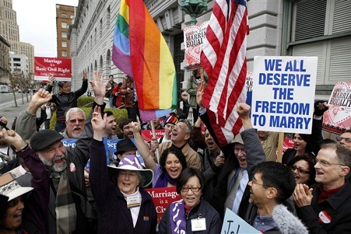 "breakingnews:  BREAKING: US Supreme Court will hear gay marriage casesThe US Supreme Court has agreed to take up two gay marriage cases in their first serious look at the issue.The court today granted review of the Defense of Marriage act, a federal law which says marriage can exist only between a man and a woman, and Proposition 8, the voter-approved ban on same-sex marriage in California, NBC News reports.More updates on BreakingNews.com.Photo: Gay marriage advocates cheer during a rally outside a federal courthouse in San Francisco moments before hearing that judges had struck down Proposition 8, which bans same-sex marriage, on Feb. 7, 2012. (Beck Diefenbach / Reuters file)  ""Now that the Supreme Court is wading into the battle, the justices could decide the more basic issue of whether any state can ban same-sex marriage under the Constitution's guarantee of equal protection of the law."" This could be big, guys."