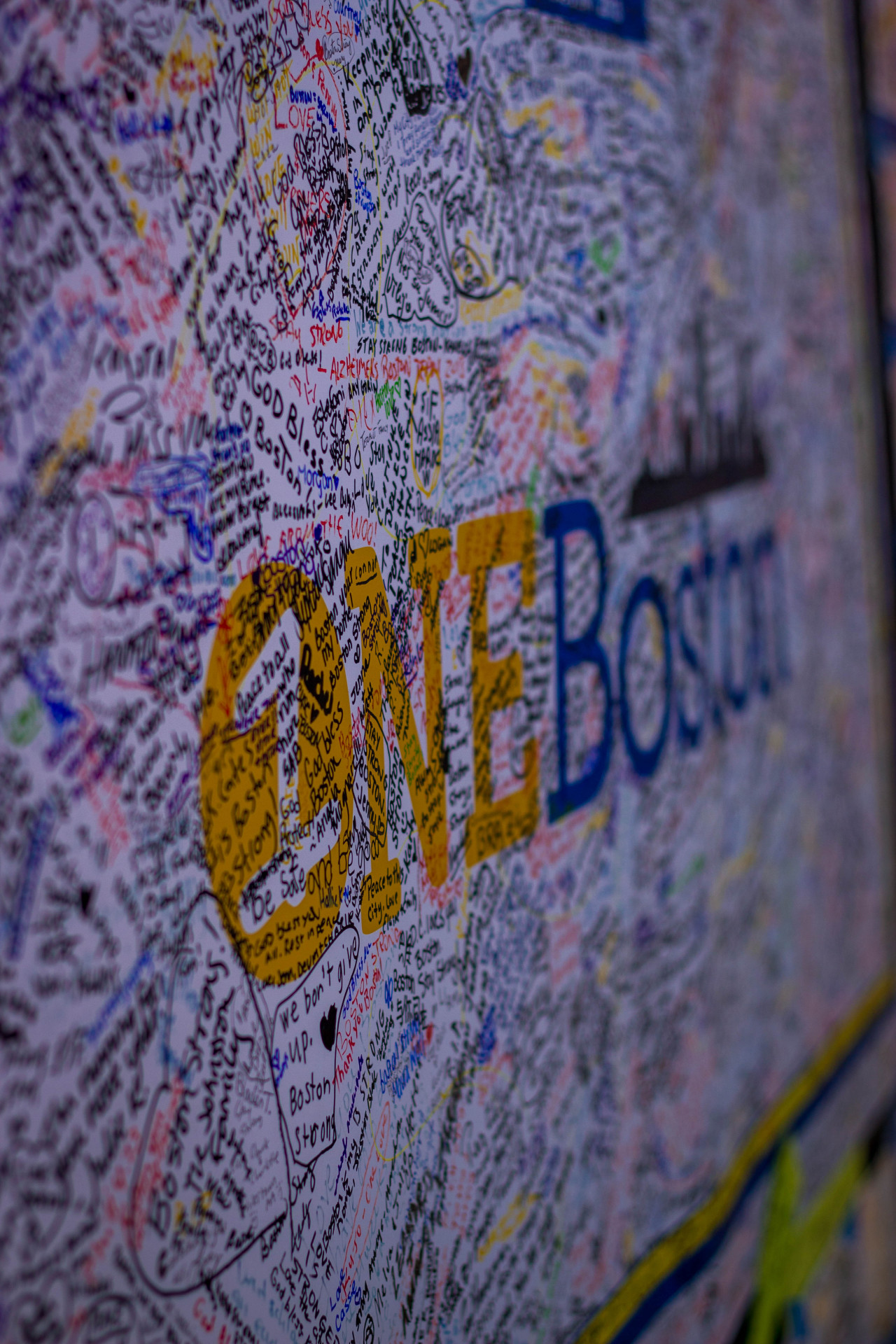 babalou71:  one of the many well wishes boards : the one fund memorial for the boston marathon bombing victims : copley square : boston