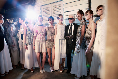 Backstage at Chanel Resort 2014
