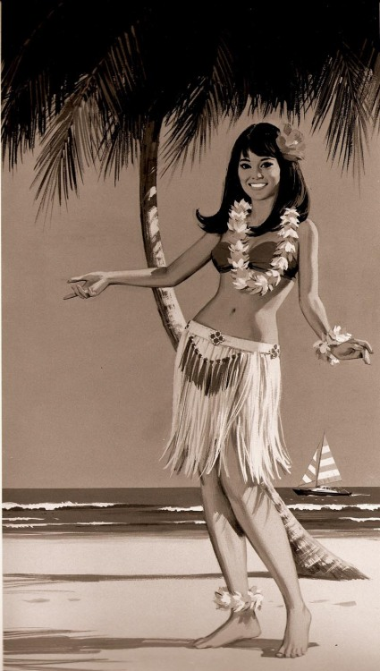 """ Hula Girl ""   …   Vintage Travel Illustration … [Circa 1950's]  …  Artist:  Charlie Allen"