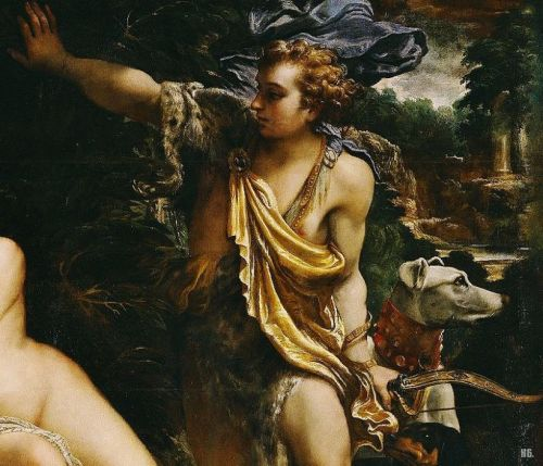 hadrian6:  Detail : Venus, Adonis and Cupid. 1590. Annibale Carricci. Italian. 1560-1609. oil on canvas.     http://hadrian6.tumblr.com