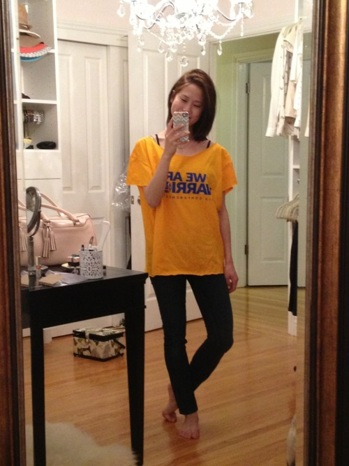 Let's go Warriors!! (Slight alteration on an oversized free t-shirt I got from the game).