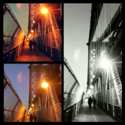 """Three the Hard Way"" #Brooklyn #NewYorkCity #ManhattanBridge #OntheBridge #Lights #3 #brooklynpoets #BlacknWhite #Colors #Experimenting"