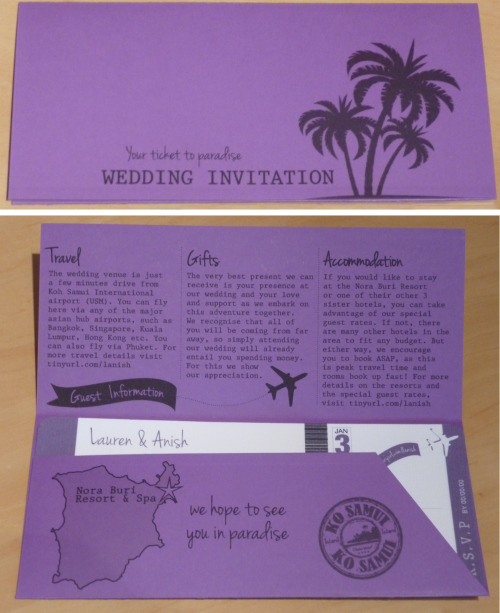 Lauren & Anish - Thailand wedding invitation in the style of an airline ticket