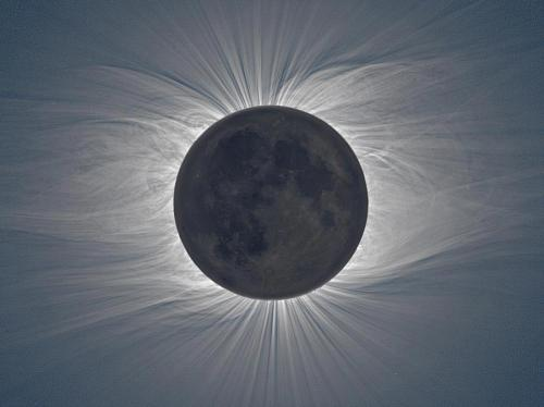autoentropy:  A solar eclipse of immense magnitude — The wispy lines visible around the moon are actually the sun's corona