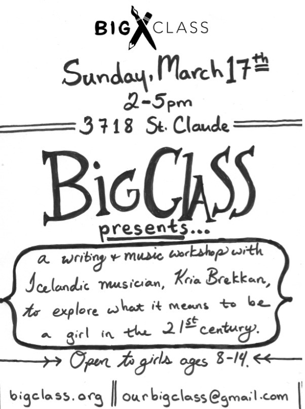 bigclass:  If you know a creative girl between the ages of 8 and 14, let them know about our awesome FREE Sunday workshop.