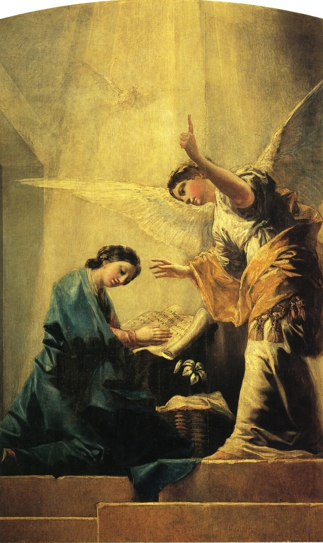 "The Annunciation (1785). Francisco Goya (Spanish, Romanticism, 1746-1828). Oil on canvas. Luke 1:34-38: ""How can this happen?"" Mary asked the angel. ""I am a virgin."" The angel answered, ""The Holy Spirit will come to you. The power of the Most High God will cover you. So the holy one that is born will be called the Son of God…"" Mary answered, ""I serve the Lord. May it happen to me just as you said it would."""