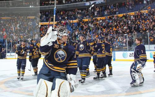 Sabres saluting the fans post game