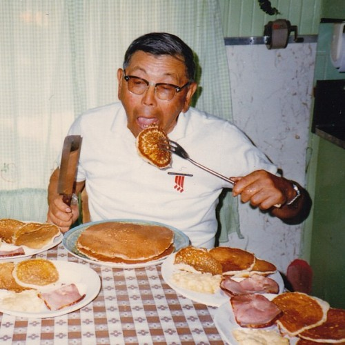 Happy #NationalPancakeDay - A pic of my late grandfather, who loved pancakes more than anyone I know