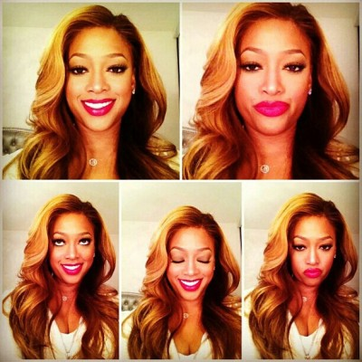 #SuperKute - The #beautiful @TrinaRockstarr making #LoveFaces in her NEW #SHOWOFF #Red #Mattelipstick by #KAOIR - www.kaoir.com/superkute - Shop Today.
