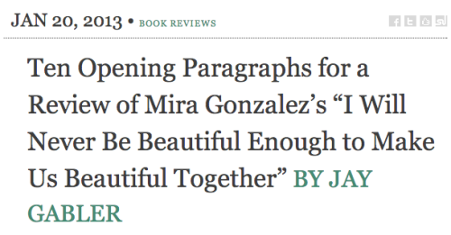 sorryhouse:  ten opening paragraphs for a review of Mira's book over at The Tangential.