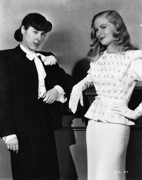 weareallprostitutesandjunkies:  American actress Veronica Lake  with legendary Hollywood costume designer Edith Head