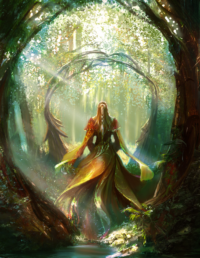 spirit-of-avalon:  Lady in the forest by ~Edli