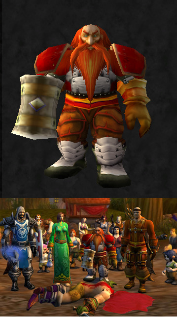 "Transmog Challenge 19: Entry 7  Transmog Challenge 19: Based off of Eric Cartman's warrior in the South Park episode ""Make Love, Not Warcraft"". The gear set in the left column is what I've submitted and the one on the right is what he actually has on. Somehow he's wearing rogue pvp pants, level 30 mail gloves and a level 60 mail belt from AQ. Don't ask me how. http://www.wowhead.com/compare?items=8312:52636:21316:8316:10387:41252:25009:12610;8312:52636:21316:8316:10387:41252:25009:12610#."