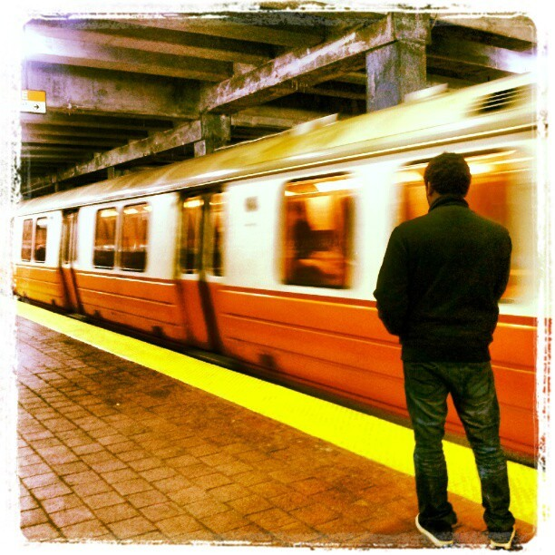 mvpstory:  Here she comes. #subway #photoart #OrangeLine #ForestHill #Boston