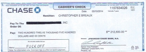"The above is a photograph of a cashier's check that Frank Ocean sent to Chipotle after changing his mind about appearing in their advertisement for beef salad (or whatever). As you can see, he wrote ""FUCK OFF"" in the memo of the check, because that is how adults conduct business, and the image of the check comes from Frank Ocean's personal blog, because he posted it himself, because he wants us all to bear witness. OH, THANK YOU SO MUCH, FRANK OCEAN!  Now look:  Frank Ocean is so good at music. He's so good at music that Chipotle wanted to pay him north of $400,000 for the privilege of using that music in their commercial. And he's so good at music that he can refuse that money, because his talent affords him other money-making opportunities such that $400,000, while still probably nice even to Frank Ocean, is not important enough to be the guiding factor in his decision making. That is very nice for Frank Ocean. We should all be so lucky as to be in such a position. But we should all also hope and pray that if the day comes where we are in such fortunate circumstances, circumstances so rare and so privileged that it must be almost impossible to even make sense of it all, how a world that deals so harshly with so many has somehow been so generous when it comes to us, a challenge to even the most thoughtful and emotionally engaged among us's ability to maintain proper perspective, that we would somehow, right before clicking ""Publish to Tumblr"" remember, almost like some faint ghostly whispering from a benevolent being outside of ourselves, a guy named Common Sense let's call him for fun, that not everyone on Earth can be so fucking flippant and disdainful of $212,500. That, in fact, access to $212,500 would change most people's lives in an instant. That, in fact, our refusal of $212,500, while perhaps rational in the grand scheme of an artist's search for integrity and purpose, is nevertheless an argument many will not understand, so best to have that discussion behind closed doors. If I'm not mistaken, the whole POINT of being a pop star is to guard at least a LITTLE mystique. It's also worth pointing out that he wrote ""FUCK OFF"" in the memo I guess because he was angry that Chipotle was suing him for that money, but also Chipotle gave him that money as part of a contract, a contract that he then decided he no longer wanted to fulfill. So, like, it's actually Chipotle's money? I've never even EATEN at a Chipotle, and I know that they are owned and operated by the McDonald's corporation, and so therefore they are PURE EVIL I AM SURE, the point being that I am no Chipotle Defender, and I am also no Harvard Businessman, but just on the very surface of things: Chipotle hires Frank Ocean for a job, Frank Ocean doesn't show up to work, Chipotle determines they will not be paying Frank Ocean for missed work, and so he writes FUCK OFF In the memo? What is this? A high school sophomore late for his catering job? A high school junior who feels he is above a paper route this summer?  To make matters even more confused, at least according to the Pitchfork article linked above, the reason Frank Ocean backed out of his deal with Chipotle, which at one point he did enter into in good conscience, I mean, at some point Frank Ocean did say ""Yes, I would be happy to accept north of $400,000 for my contributions to an advertisement to your beef salad commercial,"" but then it turned out that Chipotle was going to put the Chipotle logo at the end of the commercial, which as far as I am concerned, is a pretty minor request on the part of Chipotle, but that is when Frank Ocean decided thank you but no thank and also FUCK OFF, Chipotle, which, again, far be it from me to enter into the cloudy, swirling, Rust Cohle mind of a TRUE ARTIST, but, like, let's pretend that Chipotle didn't put their logo on the ad, a situation with which, one must assume, Frank Ocean would have been cool, what does Frank Ocean think people at home would have thought? That it was not an advertisement for Chipotle? That it was a work of art? ""It is cool that they are just running a Frank Ocean music video between episodes of my favorite shows, even if it is only 30 seconds long and I find the images of dancing beef salads to be an odd choice of visuals. But, you know, art!"" Is that what Frank Ocean thought? Because I feel that is an incorrect assessment of what people would have thought. One time, for my birthday, my father took me and my then best friend whose name I cannot even remember because he was only a camp friend and I guess it turns out we did not have as much in common as it had seemed at the time, to Six Flags Great America in Gurnee, Illinois. I'm not even sure why we went because I hated roller coasters and still don't really love them, although in the grand scheme of father-son-relations as I have experienced them, it actually was a fairly thoughtful and grand gesture on the part of my father, because I'm sure HE didn't care that much about roller-coasters either but just wanted his kid to have a Kids Day, and in those days the Platonic Ideal of a Kids Day involved Six Flags Great America, even I knew that, and was actually very embarrassed of my dislike for roller-coasters, and am already regretting my Frank Ocean-like disdain for my father's attempt to make me happy, but so, as we were leaving the theme park, I bragged to my friend tha"