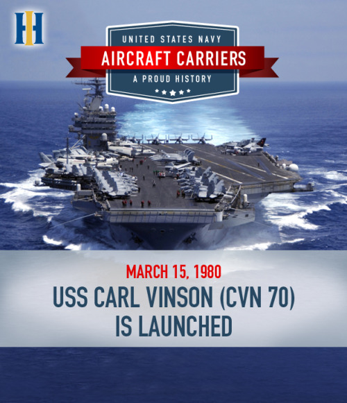 March 15, 2013 marks the 33rd anniversary of the launch of USS Carl Vinson (CVN 70) at Newport News Shipbuilding. The vessel's namesake, former Georgia Congressman Carl Vinson, became the first living American to have a Navy ship named in his honor. Like and reblog this post to honor Cong. Vinson, the ship and her crew! Learn more about the USS Carl Vinson:  www.cvn70.navy.mil/