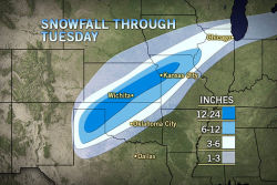 Blizzard Clobbers Amarillo, Wichita, Kansas City  With thundersnow and wind gusts to 60 mph, a historic blizzard will clobber the central Plains today.