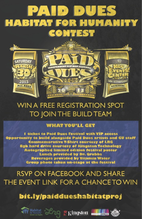 TODAY ONLY!! WIN A SPOT AT THE PAID DUES X HABITAT FOR HUMANITY PROJECT THIS WEEKEND! Full details available at https://www.facebook.com/events/135822453256195/!