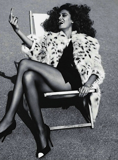 deadstockfashion:  Joan Smalls with a summer fur and an attitude. Love this.  @chrisliu0