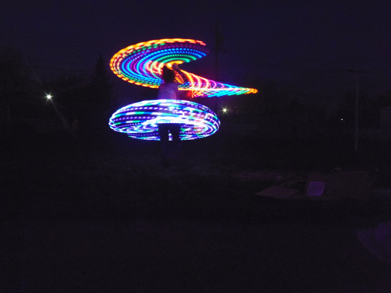Luna and Rainbow LED Hoop  double hoop action :)