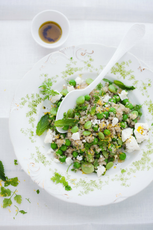 saltedtartine:  spring quinoa salad with peas, favas, lemon, and feta.