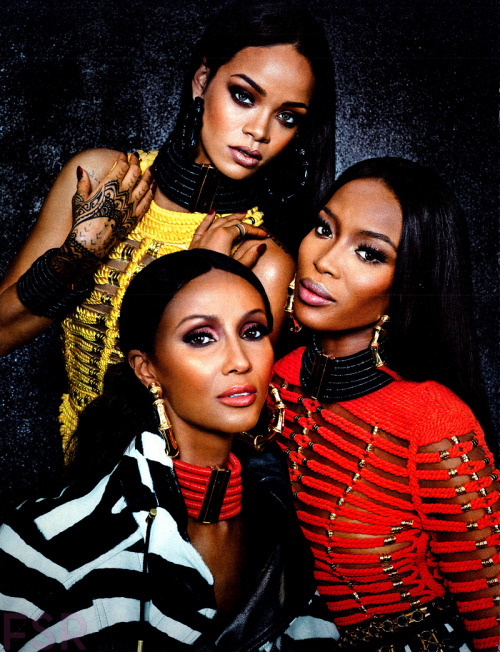 naomihitme:  Naomi, Iman, and Rihanna photographed by Emma Summerton, W Magazine September 2014   Oh my damn!