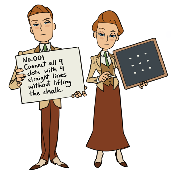 viivus:  Robert and Rosalind Lutece in Professor Layton-y style - now with actual puzzles! (answers over here) Personal note -  the only puzzle of these three I actually solved without getting the answer spoiled was the last one, and it took me half an hour. So. don't feel bad about not getting it.