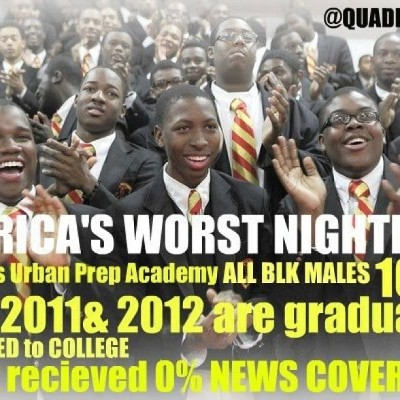 Chicago Urban Prep Academy all Black Male school 100% graduated and have ALL been accepted into colleges from 2010-2013 this just melted my heart there are still Young Black Men who care about their education and their futures. Unfortunately the media only wants to broadcast the stories that make Chicago Youth look bad. STAND TF UP AND BE PROUD OF THIS! AND A BIG KISS AND CONGRATS TO ALL OF THOSE YOUNG MEN MAKING THEIR MOMMAs PROUD💋